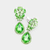 Small Green Crystal Clip On Dangle Earrings | 412379