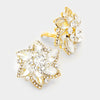 Crystal Flower Clip On Earrings on Gold | 216669