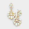 Little Girls AB Crystal Cluster Teardrop Pageant Earrings on Gold | 402703