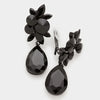 Black Teardrop Earrings | Clip On | 320393