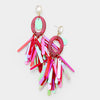 Red Oval Hoop Sequin Fringe Fun Fashion Pageant Earrings | 402262