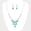 Emerald Multi Teardrop Rhinestone Prom Necklace | 407576