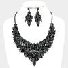 Black Crystal Leaf Cluster Flower Pageant Necklace Set | 370254
