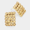 Gold Rectangle Stud Earrings | Austrian Crystal | 70745