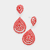 Small Red Crystal Rhinestone Double Teardrop Evening Earrings | 398755