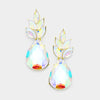 AB Crystal Leaf Teardrop Dangle Pageant Earrings on Gold | 381564