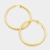 Textured Gold CLIP ON Hoop Earrings | 2.25"