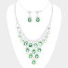Green Crystal Teardrop and Rhinestone Prom Necklace | 417466