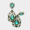 Elegant Emerald Crystal Chandelier Clip On Pageant Prom Earrings | 415103