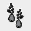 Black Crystal Teardrop Cluster Pageant Earrings | 376276