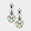Multi Color Pastel Floral Crystal Pageant Prom Earrings | 395782