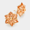 Peach Crystal Flower Clip On Earrings | 216674