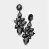 Black Crystal Teardrop Cluster Dangle Pageant Prom Earrings | 412155