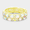 Emerald Cut Stone AB Crystal Adjustable Pageant Evening Bracelet on Gold|401208