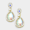 Little Girls AB Crystal Earrings on Gold | 335484