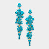 Teal Crystal Long Dangle Earrings | 348272