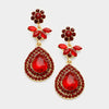 Red Crystal Flower Teardrop Earrings | 361000