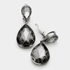 Little Girls Clip on Black Diamond Teardrop Earrings | 334665