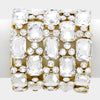 Emerald Cut Crystal Stretch Bracelet on Gold | 317671