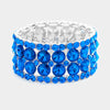 Sapphire Round Crystal Stone Cluster Stretch Bracelet | 377541