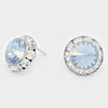 Light Blue Austrian Crystal Round Stud Earrings | 5/8"