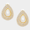 Bridal Earrings | Pearl Teardrop Earrings on Gold | Clip On | 308031