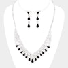 Black Crystal Teardrop Rhinestone Prom Pageant Necklace | 412046