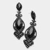 Victorian Black Crystal Double Oval Pageant Earrings | 323303
