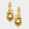 Gold Crystal Teardrop Vine Earrings | 339787