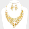 Crystal Leaf Cluster Flower Pageant Necklace Set on Gold | 370257