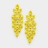 Long Yellow Crystal Pageant Earrings | 413517