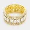 Crystal Emerald Cut Stretch Bracelet on Gold | 336936