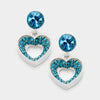 Little Girls Teal Pave Heart Cut Out Earrings | 199108