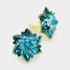Teal Crystal Flower Clip On Earrings | 216668