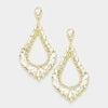 Oversized Cut Out Crystal Teardrop Earrings on Gold | 368840