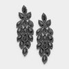 Long Jet Black Crystal Marquise Earrings on Hematite | 347045