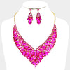 Fuchsia Crystal Cluster Vine Statement Evening and Pageant Necklace | 369166