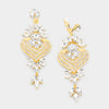 Crystal Heart Chandelier Clip On Pageant Prom Earrings ion Gold | 384203