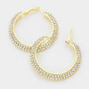 Rhinestone Crystal 2 Row Hoops | 2"