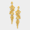 Gold Crystal Long Dangle Earrings | 350826
