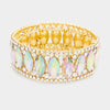 Oval Rhinestone Trimmed AB Crystal Pageant Bracelet on Gold | 355757