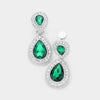 Little Girls Emerald Double Crystal Teardrop Clip On Earrings | 398731
