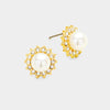 Rhinestone Cream Pearl Stud Earrings on Gold | 215712