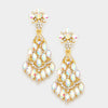 AB Crystal Chandelier Earrings on Gold | 346087