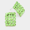 Light Green Rectangle Stud Earrings | Austrian Crystal | 70750