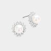 Rhinestone White Pearl Stud Earrings | 215713