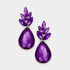 Purple Crystal Leaf Teardrop Dangle Pageant Earrings | 381569