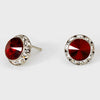 Deep Red Stud Earrings 0.5"