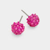 Little Girls Fuchsia Crystal Ball Stud Earrings | 103863