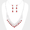 Red Crystal Teardrop Rhinestone Prom Pageant Necklace | 412050